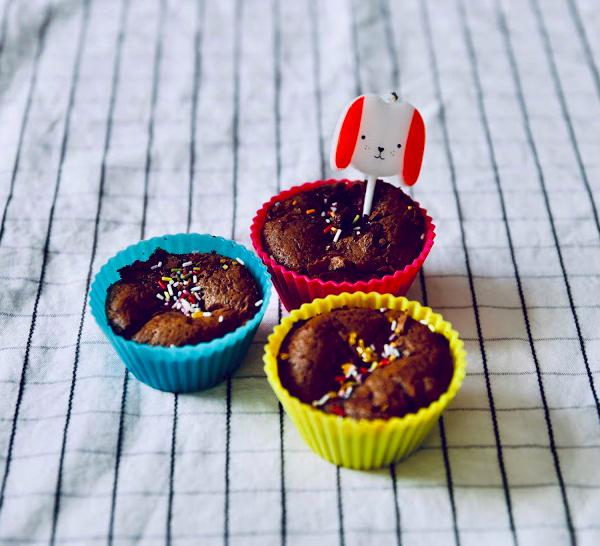 Muffin chocolat/ framboise sans beurre